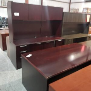 Desk and Credenza with Hutch – Mahogany (used)