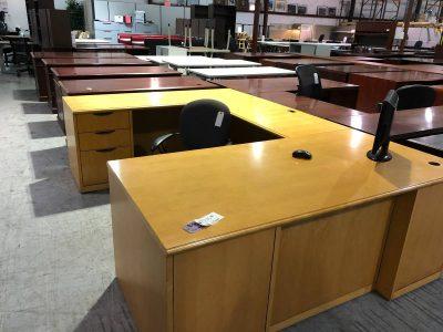 Blonde U-Shape Office Desk used office furniture nashville superior office services